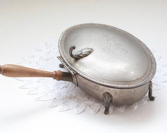 Vintage Crumb, Ash Table Butler, Wood Handle