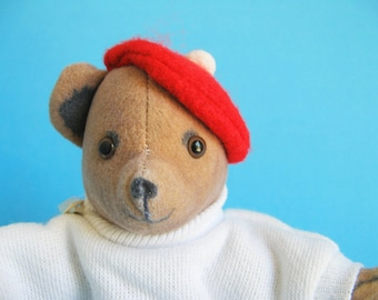 Vintage Teddy Bear Beanbag Stuffed Animal from the book ALPHABEARS by Kathleen Hague Toy Works 1980s Toy 1984 Plush