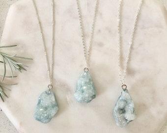 Dusty blue Druzy Raw quartz Cluster pendant necklace | natural stone geode pendant necklace | Druzy quartz necklace | Raw quartz necklace |
