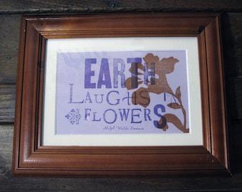 Earth Laughs in Flowers - Ralph Waldo Emerson Letterpress Print