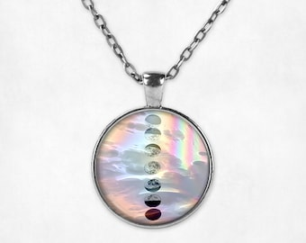 Lunar Moon Phases Pendant Necklace - Moon Phases Necklace Moon Necklace Moon Jewelry Vaporwave VHS Pastel Goth Pastel Grunge Black and White