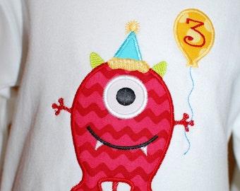 INSTANT DOWNLOAD, Machine Applique Design, Birthday Monster