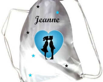 Gym bag pool lovers in heart personalized with name