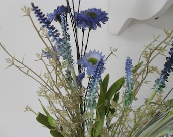 Wildflower Spray, Artificial Blue Daisies,Faux Flowers, Flower Bunch, Arrangement, Decor