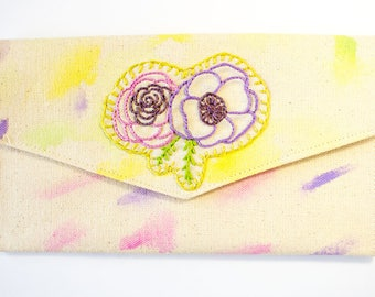 embroidered flower bag - envelope clutch - envelope wallet - plant lady gift - boho makeup bag – gift for best friend - watercolor clutch
