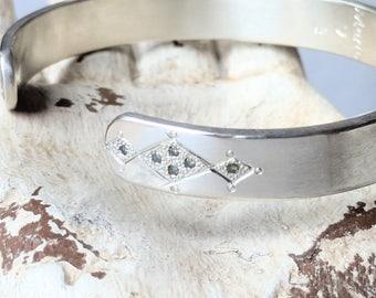 Sterling silver diamonds cuff bracelet. Boho bracelet. Diamond bracelet.