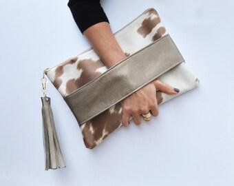 Animal print clutch, pony print clutch, southwestern bag, cow print clutch, cowhide bag, neutral purse, Wallet, western handbag