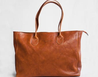 Leather Shopper in Cognac, Leather Tote, Shoulder Bag, Brown Leather Bag, Leather Bag, Leather Handbag, Laptop Bag, School Bag, Book Bag