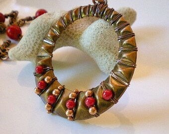 Necklace - Diamond Pattern Beaded Circle, Wire Wrapped Hoop Pendant, Red Coral and Copper Plated Chain, Ethnic Tribal Jewelry, Boho Necklace