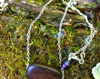 Yoga Necklace-Om in Wood, sterling silver and Amethyst