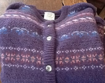 Vintage LAURA ASHLEY CARDIGAN Sweater Scotland Medium Purple Wool