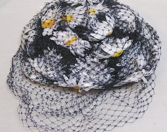 Sally Victor Designer Hat White Daisies Under Black Netting/One of Top Three Milliners /Miss Sally Victor Line 1960s