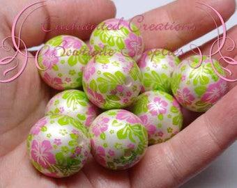 20mm Green, Pink and White Hawaiian Flower Print, Bubblegum Bead, Gumball Beads, Printed Beads, Chunky Beads, Large Jewelry Beads