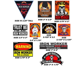 Ironworker Hard Hat Stickers, 10 of the best sellers value pack, CIW bndl-1