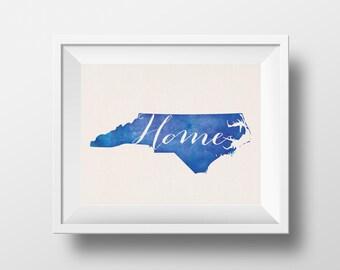 North Carolina Home 8x10 Print NC love Wall decor watercolor NC state