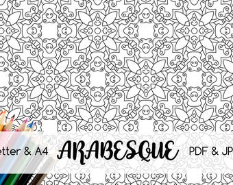 Black and white decorative pattern, Arabesque, Coloring page Printable, A4, Letter, Digital Coloring Page, PDF and JPG