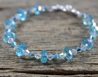 Blue Crystal Bracelet / Sparkly Bracelet / Bridesmaid Gifts / Gifts for Her / Gifts for Women / Blue Bracelet / Crystal Bracelet