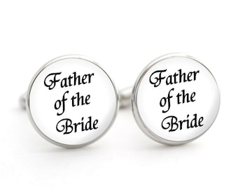 Father of the Bride Gift, Father of the Bride Cufflinks, Wedding Day Gifts for Parents, Thank You Gift for Dad from Bride, Silver Cufflinks