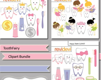 Tooth Fairy clipart bundle sale / cute teeth, tooth brush, tooth paste digital clipart, Commercial use digital graphic - dental, dentist