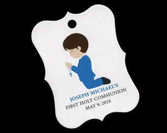 First Holy Communion Favor Tags - First Communion Tags - Boys Communion Tags - Cookie Tags