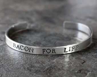 Bacon Bracelet, Bacon For Life, Paleo Jewlery, Primal, Foodie Jewelry,  Skinny Food Cuff Bracelet, Processed Meat, Pork, Pig, I Love Bacon