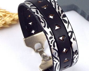 Kit tutorial bracelet black leather and silver metal clasp silver