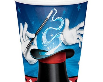 Magic Party Paper Cups, Magic Show Party Paper Cups, Magician Dinnerware, Disposable Cups