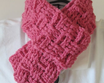 Pink Basketweave Scarf, Lt Raspberry, Ready to Ship