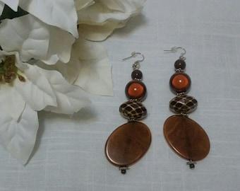 Exotic Dangly Earrings in Earthy Brown Hues, Tribal, yet Neutral, miracle beads, beveled brown & Cream Beads,