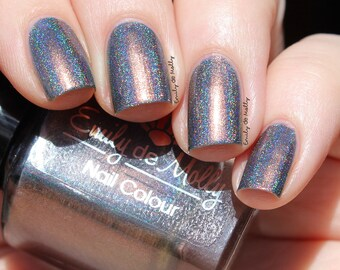 "Nail polish - ""Distant Mood"" grey linear holo with copper shimmer"