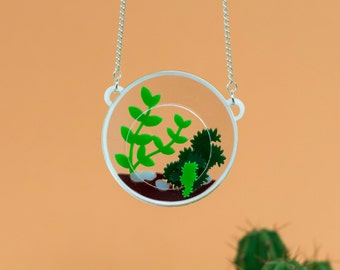 Terrarium necklace - cactus necklace - cactus jewellery - terrarium jewellery - succulent necklace - statement necklace - laser cut necklace