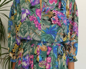 Vintage dress by 'Sporting Dress' Size UK 14 floral butterfly print