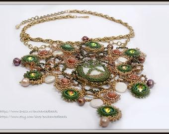 Beadwoven Jewelry. Swarovski Crystal Rivoli Stones. Baroque Pearls. Mother of P. Goldstone - Constellation Necklace by enchantedbeads on Ets