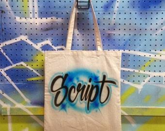 Custom Airbrushed Tote Bag | Script