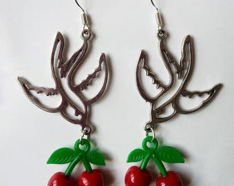 Earrings ♥ ♥ ♥ cherry and silver swallows