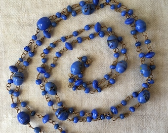 Blown Glass Necklace, Vintage Italian Glass, Blue Beads, Antiqued Gold Tone, Opera Length, KC008