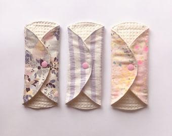 "Organic Cloth Panty Liner, SET OF 3, 7"", Cloth Pads liner,Mama Cloth, Mama Pads, Reusable Cloth Pads light, lilac lavender pink"