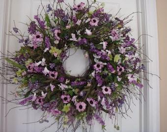 Spring wreath, Mothers Day wreath, spring door wreath, spring decoration, summer door wreath, front door wreath,  Mothers Day gift