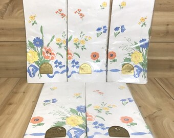 Vintage Hallmark, Paper Tablecloth cover, 60 x 102, Lot of 5 ,Mod Floral Prints, 1970's tablecloth