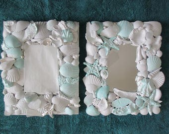 Pair of nautical / beachy painted white seashell mirrors  with cool tropical  pale aqua / turquoise and pearl highlights