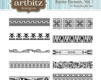 Border Elements Vol. I, No. 16001 Clip Art Kit, 300 dpi .jpg and .png