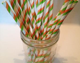 White Green and Orange Stripe Paper Straws