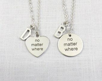No Matter Where Necklace Set, Matching Couples Necklace, Friend Necklace Set, Couples Jewelry, Initial Jewelry Boyfriend Girlfriend His Hers