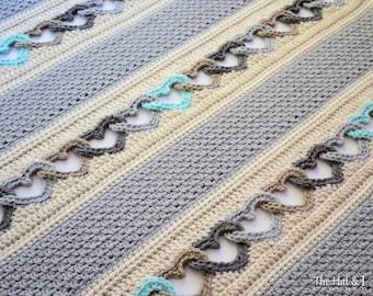 CROCHET PATTERN - With All My Heart - crochet blanket pattern, heart afghan pattern, linked hearts blanket pattern - Instant PDF Download