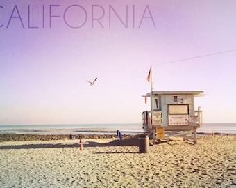 California - Lifeguard Shack Sunrise (Art Prints available in multiple sizes)
