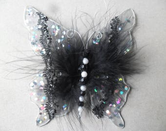 x 1 large embellishment in the shape of black, White Butterfly, beads, metal contour 13.5 x 12.5 cm