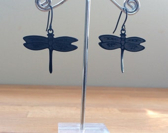 Jet black laser dragonfly earrings