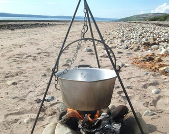 Cooking, camping tripod. Campfire, scouts, outdoors, holiday, beach, glamping