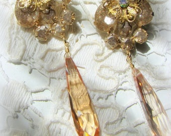 Baroque Iridescent Champagne Gold Cubic Zirconia Drop Crystal Earrings
