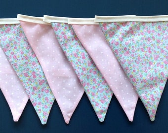 Mini Floral Blues & Pinks Patterned Bunting